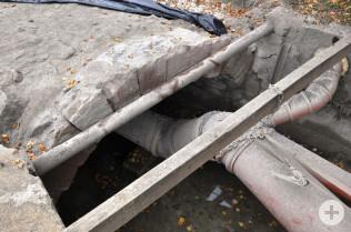 Bild von der Sanierung der Sandsteinbogenbrücke