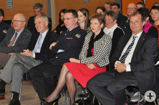 Bürgermeister Rolf Karrer, Alt-Oberbürgermeister Eberhard Niethammer, Stadtbrandmeister Gerhard Salg, Landrätin Marion Dammann und Oberbürgermeister Klaus Eberhardt