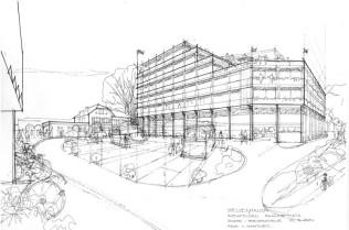 Entwurf Stelzenhaus - Blickrichtung auf den Bahnhof