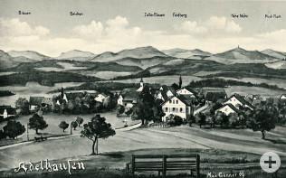 Gemalte Ansichtkarte von Adelhausen um 1910