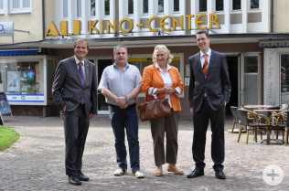 Oberbürgermeister Klaus Eberhardt, Bernd Gschöpf, Ursula Albrecht und Elmar Wendland