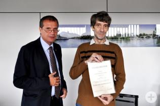 Oberbürgermeister Klaus Eberhardt und Joachim Patarek
